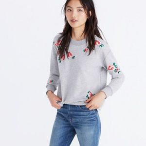 Miles by Madewell Embroidered Cutoff Sweatshirt M